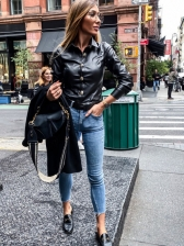 Single-Breasted Fitted Black Leather Shirt For Women