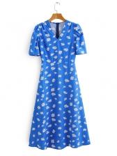 Summer Flower Printed Blue Short Sleeve Midi Dress