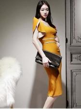 Slim Fit Square Neck Short Sleeve Bodycon Dress