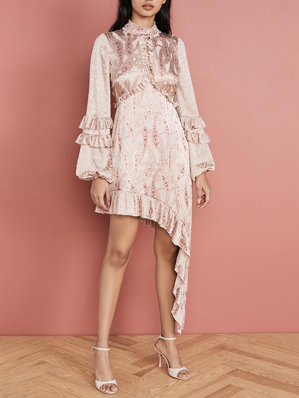 Boutique Asymmetric Ruffled Hem Long Sleeve Dress