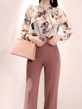 Ol Style Chain Printed Blouse With High Waist Pants