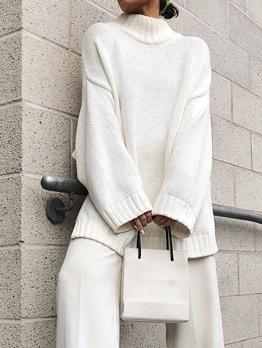 Mock Neck Long Sleeve White Sweater For Women