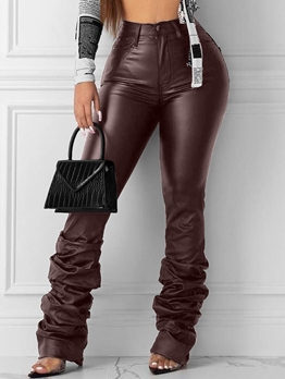 Classic Solid Stacked Leather Pants