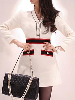 V Neck Button Decor One Piece Dress
