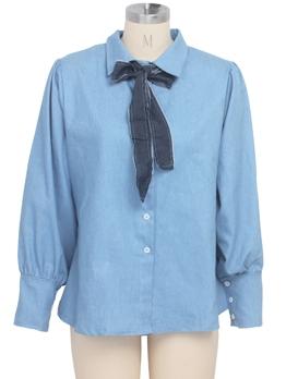 Fashion Lantern Sleeve Denim Tie Neck Blouse