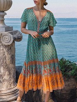 Smart Waist Short Sleeve Print Boho Maxi Dress