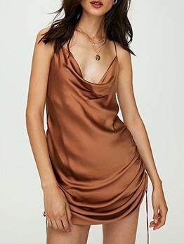 Cowl Neck Side Drawstring Slip Sleeveless Summer Dresses
