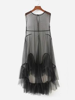 Crew Neck Gauze Patchwork High-Low Maxi Dresses