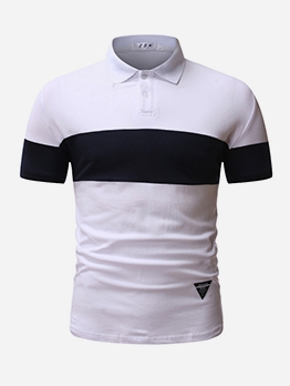 Contrast Color Short Sleeve Polo Shirts