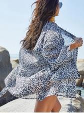 Leopard Printed Beach Long Sleeve Cardigan Cover Ups
