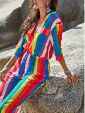 Long Sleeve Color Striped Wide Leg Jumpsuit