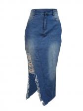 Hot Sale High Waist Worn Out Maxi Denim Skirt