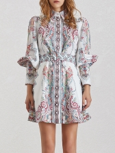 Boutique Retro Single-Breasted Printed Long Sleeve Dress