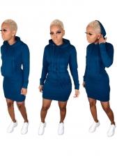 Leisure Style Hooded Pocket Long Sleeves Dress