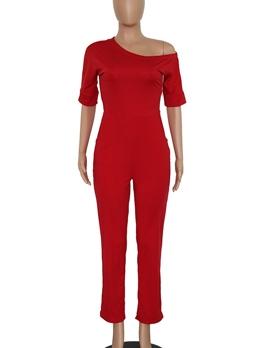 Solid Inclined Shoulder Sort Sleeve Red Jumpsuit