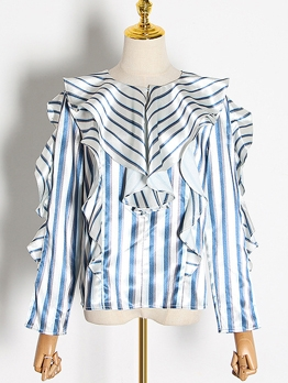 Chic Crew Neck Striped Ruffle Blouse