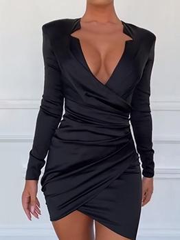 Deep V Pleated Black Long Sleeve Bodycon Dress