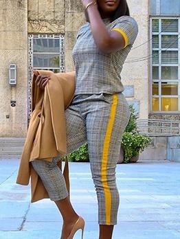 O Neck Plaid Short Sleeve Top And Pants Set