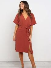 V Neck Solid Slit Short Sleeve Wrap Dress