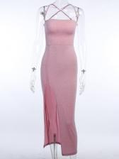 Glitter Pink Sleeveless Backless Maxi Dress With Slit