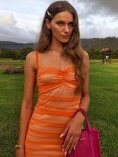 Pleated Backless Lace Short Sleeveless Dress