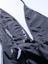 Pu Deep V Backless Black Sleeveless Dress