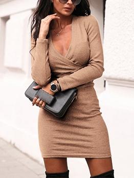 Autumn 2019 V Neck Solid Long Sleeve Bodycon Dress