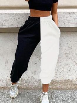 Elastic Waist Contrast Color Jogger Pants