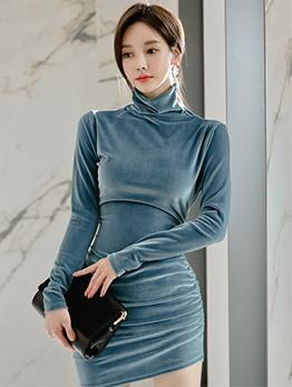 Elegant Velour High Collar Long Sleeve Dress