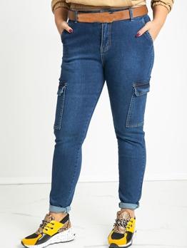 Fashion Pocket High Waisted Jeans