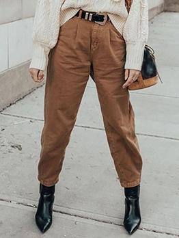 Versatile Solid Color Jeans For Women