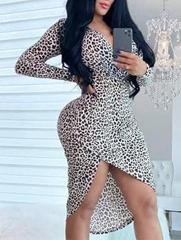 Deep V Neck Leopard Print Long Sleeve Dress