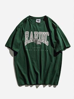Loose Letter Print Vintage t Shirts