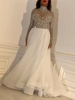 Sparkly Embellished Large Hem Long Sleeve Evening Dress