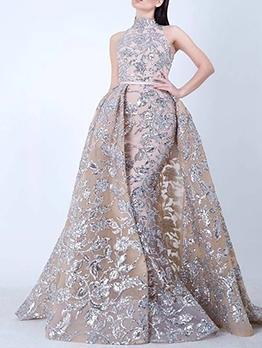 Sequin Decor Sleeveless Long Evening Dress