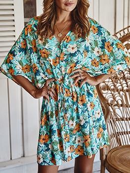 Flower Printed Short Sleeve Summer Dresses