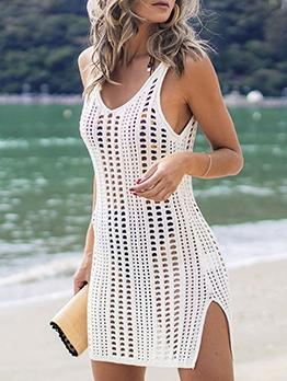 Hollow Out Beach Sleeveless Dress