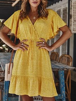 Ruffled Hem Short Sleeve Summer Dresses
