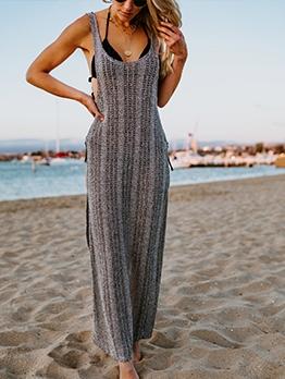 Solid Sleeveless Slit Beach Maxi Dress