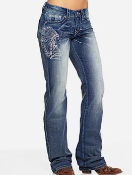 Tribesmen Embroidery Plus Size Denim Jeans