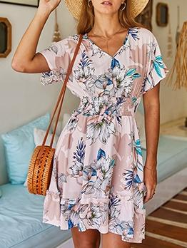 Flower Print v Neck Short Sleeve Summer Dresses