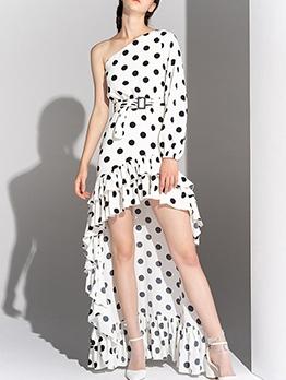 Boutique Polka Dots High-Low Maxi Dresses
