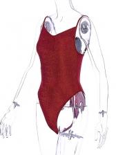 Euro Glitter Solid Backless Spaghetti Strap Bodysuit