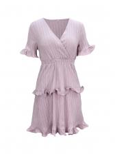 V Neck Short Sleeve Ruffle Short Dress