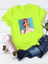 Casual Print Short Sleeve Plus Size T Shirt