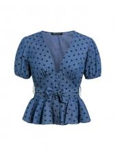 Fashion Short Puff Sleeve Polka Dot Blouse