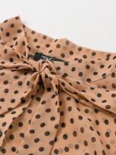 Vintage Dot Printed Tie Neck Blouse