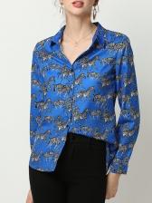 Zebra Print Long Sleeve Shirt For Women