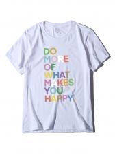 Multicolored Letter Short Sleeve Cotton T Shirt