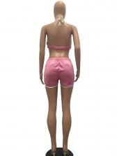 Backless Halter Neck Satin Pink 2 Piece Sets